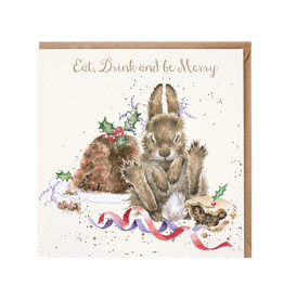 Wrendale Wenskaart - Eat, Drink and be Merry