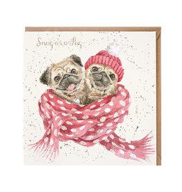 Wrendale Wenskaart - Snug as a Pug