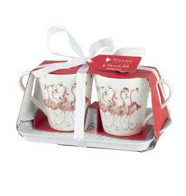 Wrendale Set Mokken & Tray - Flamingle Bells