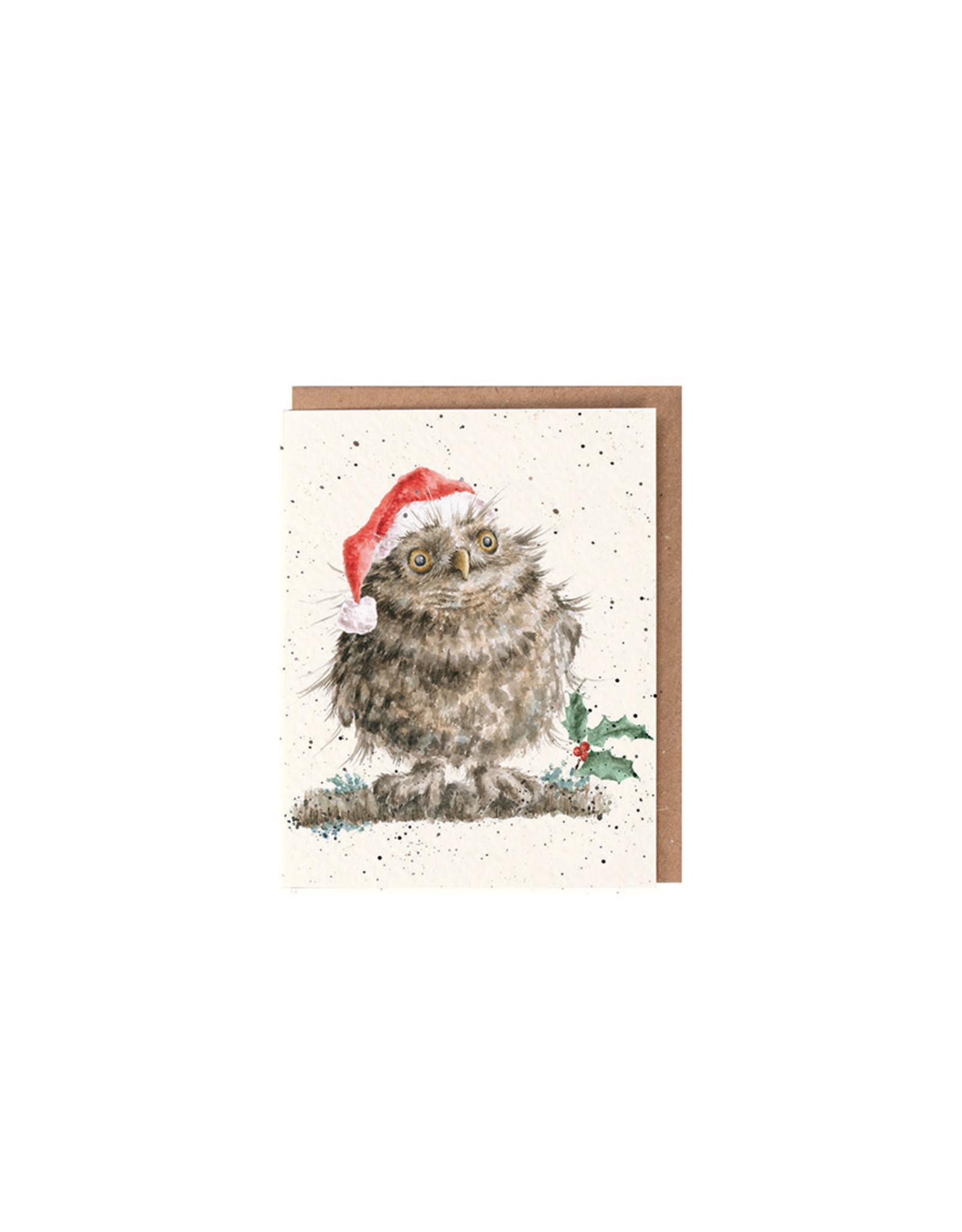 Wrendale Mini Wenskaart - Christmas Owl