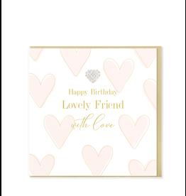 Hearts Design Wenskaart - Happy Birthday Lovely Friend