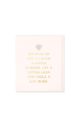 Hearts Design Wenskaart - Because of You I Laugh