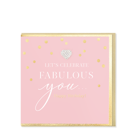 Hearts Design Wenskaart - Let's Celebrate Fabulous You! Happy Birthday