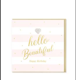 Hearts Design Wenskaart - Hello Beautiful - Happy Birthday