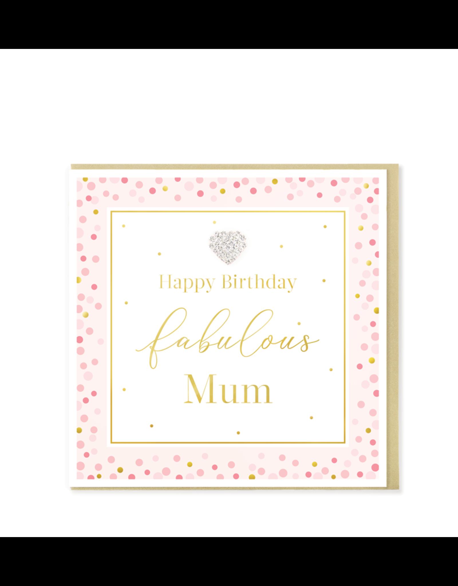 Hearts Design Wenskaart - Happy Birthday Fabulous Mum