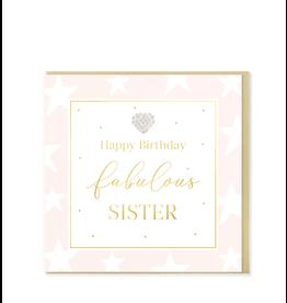 Hearts Design Wenskaart - Happy Birthday Fabulous Sister