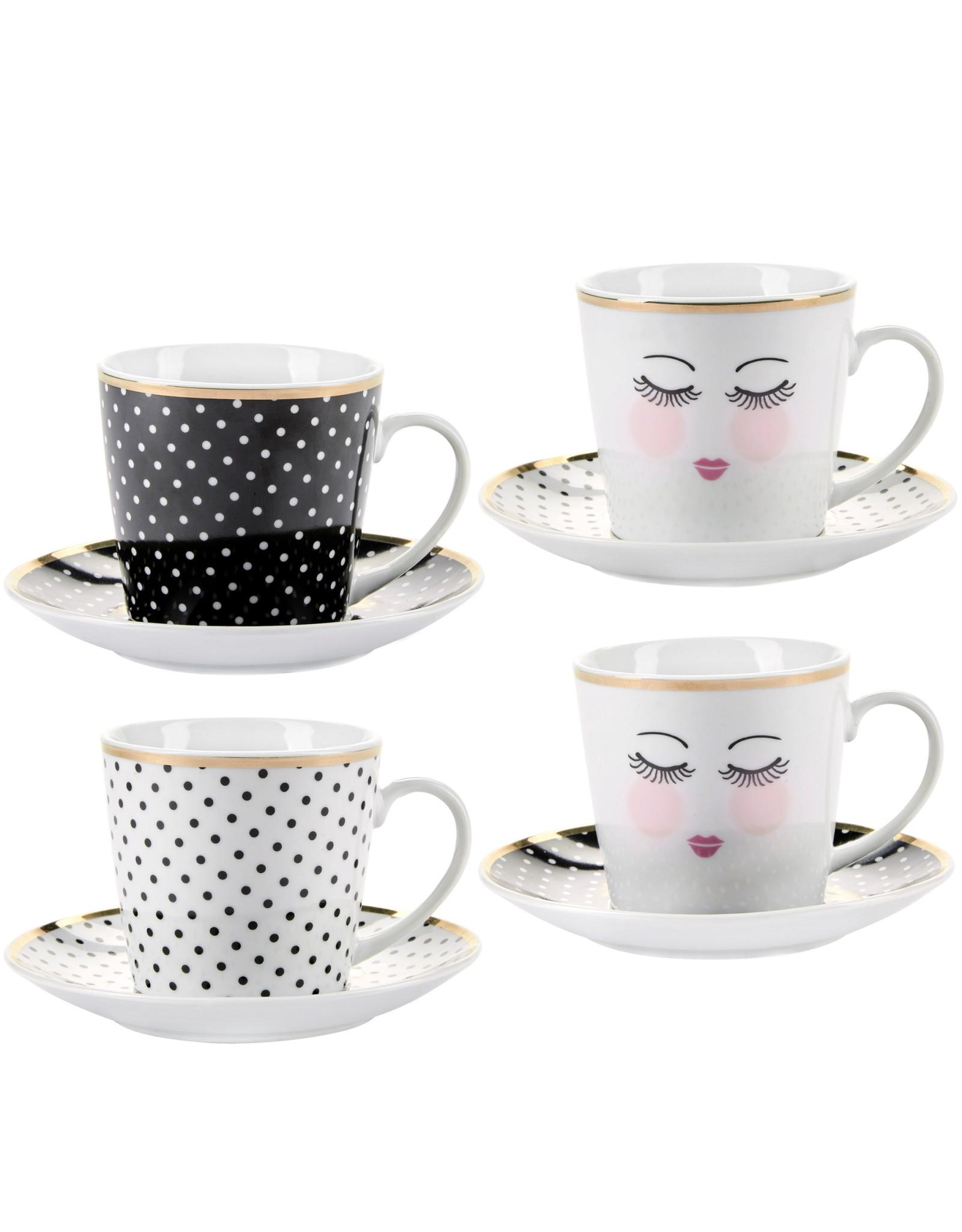 Miss Etoile Set Koffietassen - Eyes Closed & Dots
