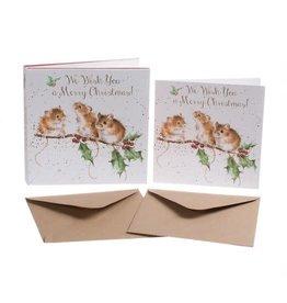 Wrendale Set 8 Wenskaarten - Christmas Mice