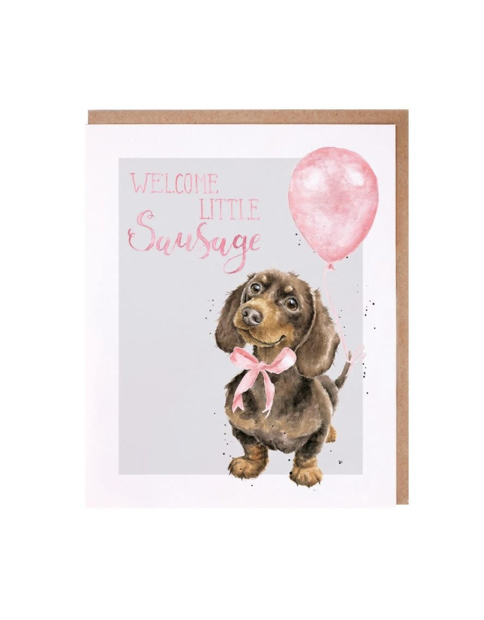 Wrendale Wenskaart - Welcome Little Sausage (Girl)