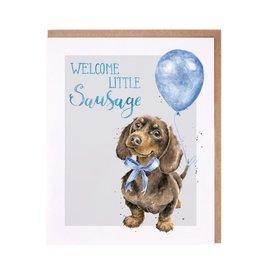 Wrendale Wenskaart - Welcome Little Sausage (Boy)
