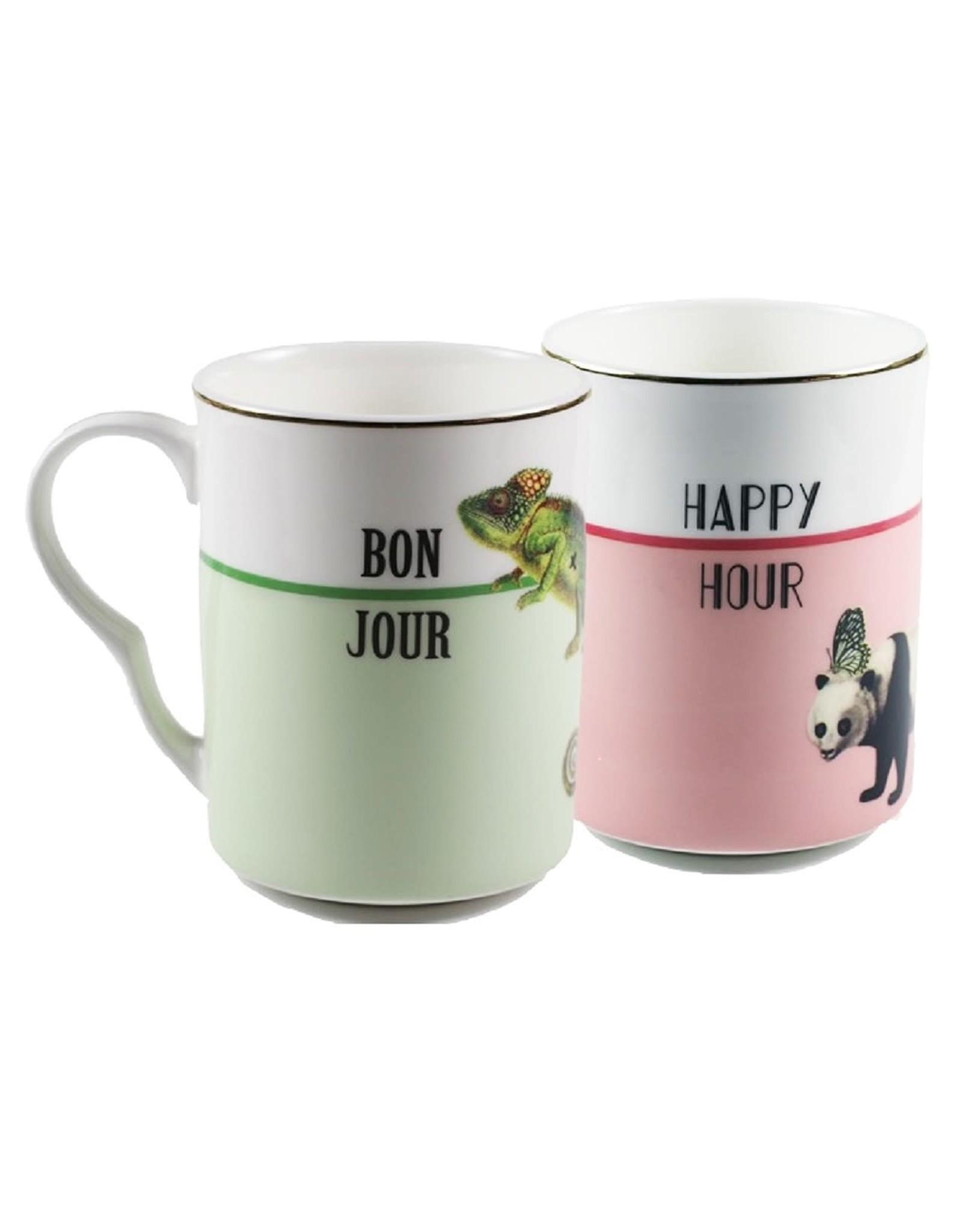 Yvonne Ellen British - Set/2 Mokken - Bonjour & Happy Hour