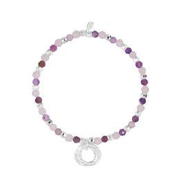 Joma Jewellery Wellness Gems - Amethyst & Clear Quartz - Armband
