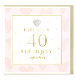 Hearts Design Wenskaart - Birthday 40