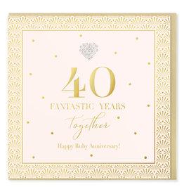 Hearts Design Wenskaart - 40 Fantastic Years Together