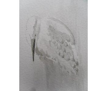Héron argenté Tanzaku 36x6 cm