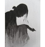 Dame in de regen Tanzaku 36x6 cm