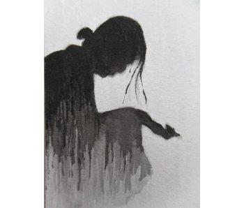 Dame im Regen Tanzaku 36x6 cm