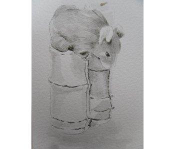 Ratte auf Bambus Tanzaku 36x6 cm