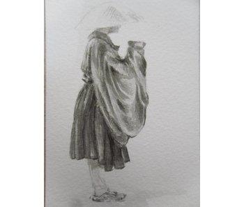 Begging monk Tanzaku 36x6 cm