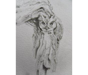 Owl in tree Shikishi 13x12 cm