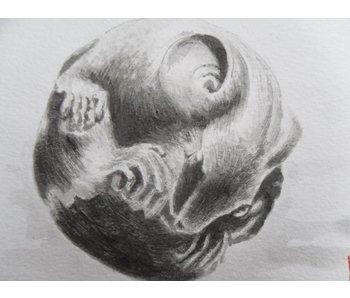 Netsuke rat Shikishi 13x12 cm
