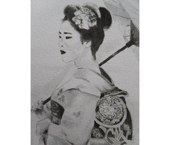 Geisha 2 paraguas Shikishi 13x12 cm