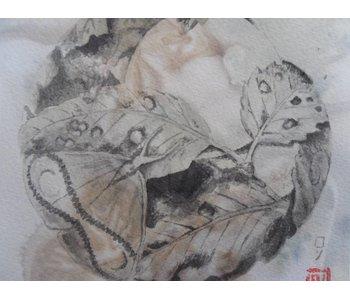 Netsuke moth 1 Shikishi 13x12 cm