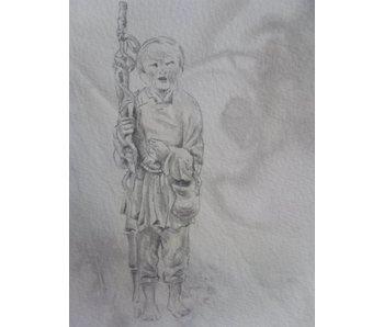 Oude dame met stok Shikishi 13x12 cm