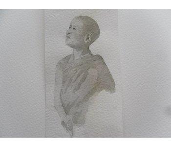 Jeune moine Tanzaku 36x6 cm