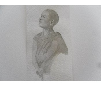 Young monk Tanzaku 36x6 cm