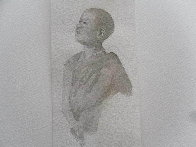 Jonge monnik Tanzaku 36x6 cm