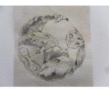 Netsuke polilla 2 Tanzaku 36x6 cm