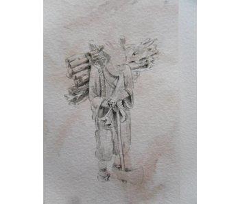 Viejo leñador Tanzaku 36x6 cm