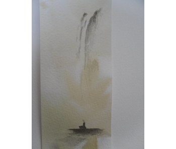 Mönch unter Wasserfall Tanzaku 36x6 cm
