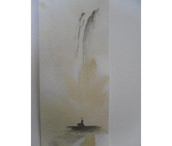 Monnik onder waterval Tanzaku 36x6 cm
