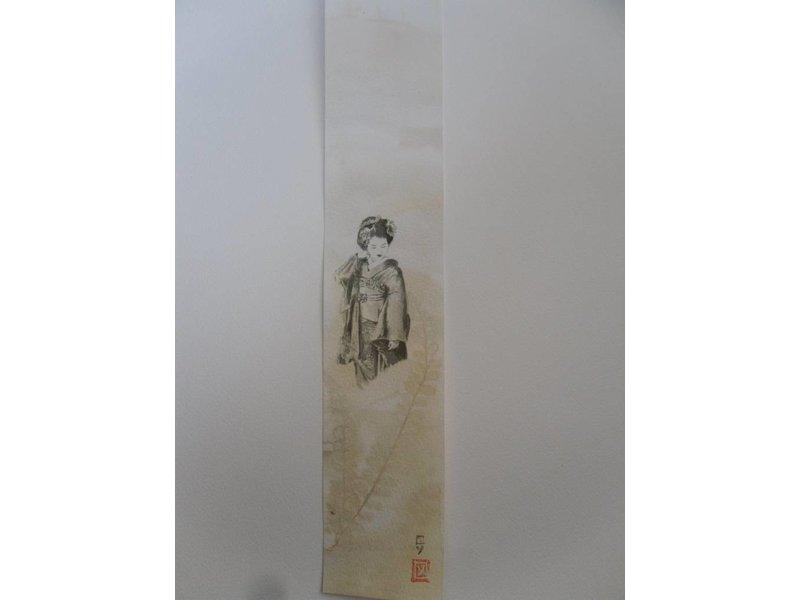 Geisha 4 Tanzaku 36x6 cm