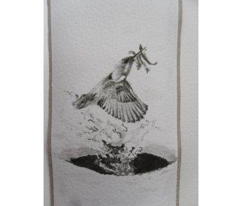 Martín pescador 3 Tanzaku 36x6 cm