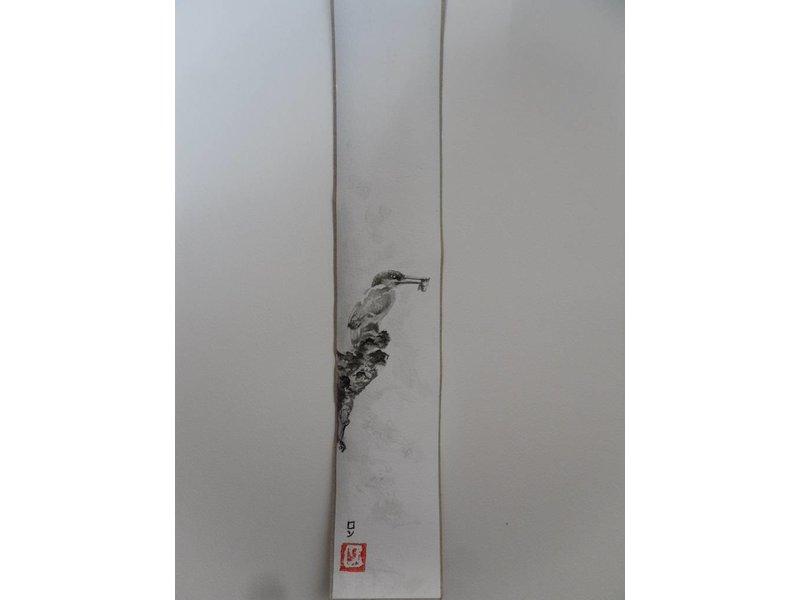 Kingfisher 4 Tanzaku 36x6 cm