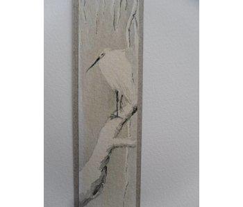 Zilveren reiger in de sneeuw Tanzaku 23,5x3 cm