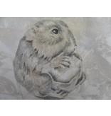 Hamster met noot Shikishi 13x12 cm