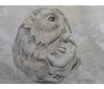 Hamster mit Nuss Shikishi 13x12 cm