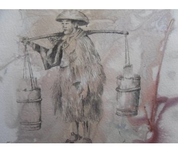Porteur d'eau Shikishi 13x12 cm
