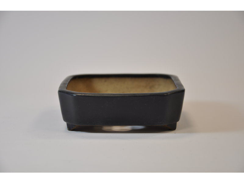 Square dark blue glazed Shibakatsu pot 136 x 107 x 35 mm