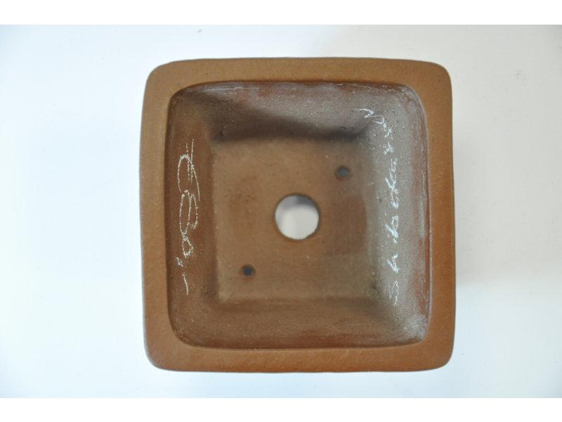 Square unglazed Shibakatsu pot 97 x 97 x 55 mm