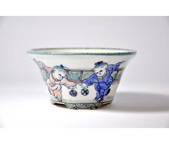 Round handpainted Shoseki pot - 107 mm