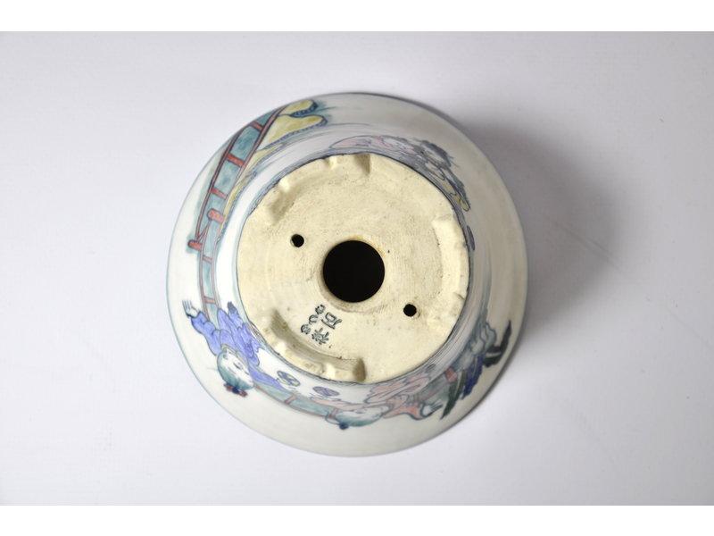 Runder handbemalter Shoseki-Topf - 107 x 107 x 54 mm