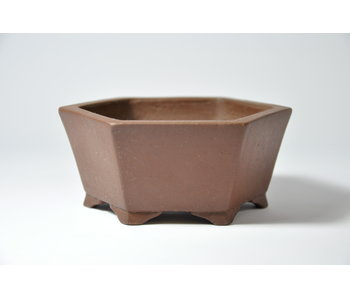 Hexagonal unglazed Shibakatsu pot - 104 mm