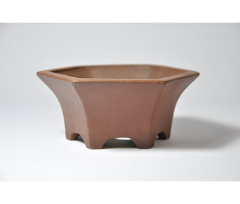 Hexagonal unglazed Shibakatsu pot - 115 mm