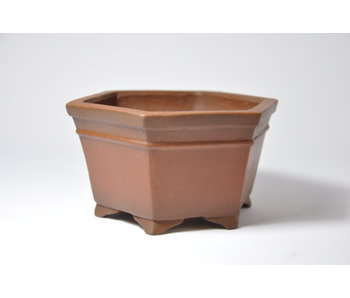 Hexagonal unglazed Shibakatsu pot - 117 mm