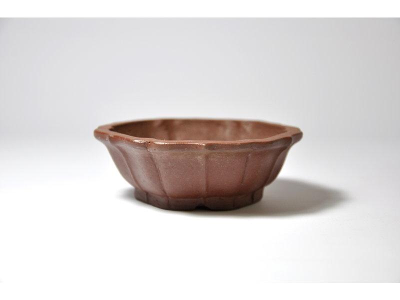 Zeshoekige ongeglazuurde Shibakatsu-pot - 90 x 90 x 31 mm